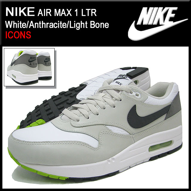 Nike NIKE sneakers Air Max 1 LTR WhiteAnthraciteLight Bone limited men's (for the man) (nike AIR MAX 1 LTR ICONS Sneaker sneaker SNEAKER MENS, shoes