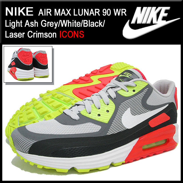 Nike NIKE sneakers Air Max luna 90 WR Light Ash GreyWhiteBlackLaser Crimson limited men's (for the man) (nike AIR MAX LUNAR 90 WR ICONS Sneaker