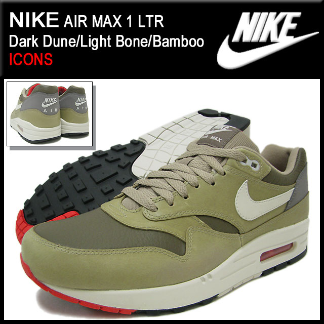 the latest 73efb 27153 ... Nike NIKE sneakers Air Max 1 LTR Dark Dune Light Bone Bamboo qualified  men ...