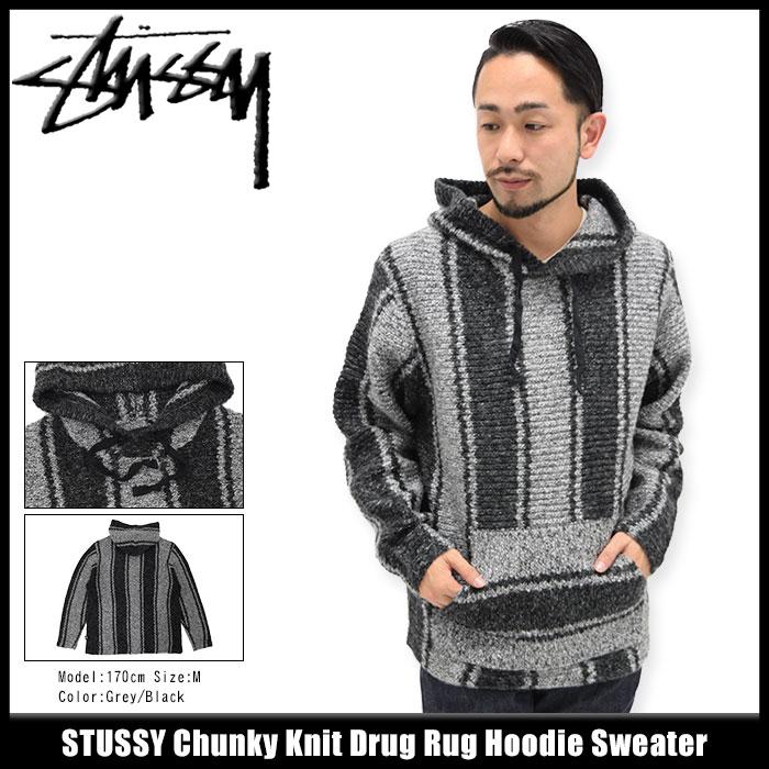 ステューシー STUSSY セーター メンズ Chunky Knit Drug Rug Hoodie(stussy sweater ニット プルオーバー パーカー フード フーディ Pull Over Hoody Parker トップス メンズ・男性用 117041 USAモデル 正規 品 ストゥーシー スチューシー)
