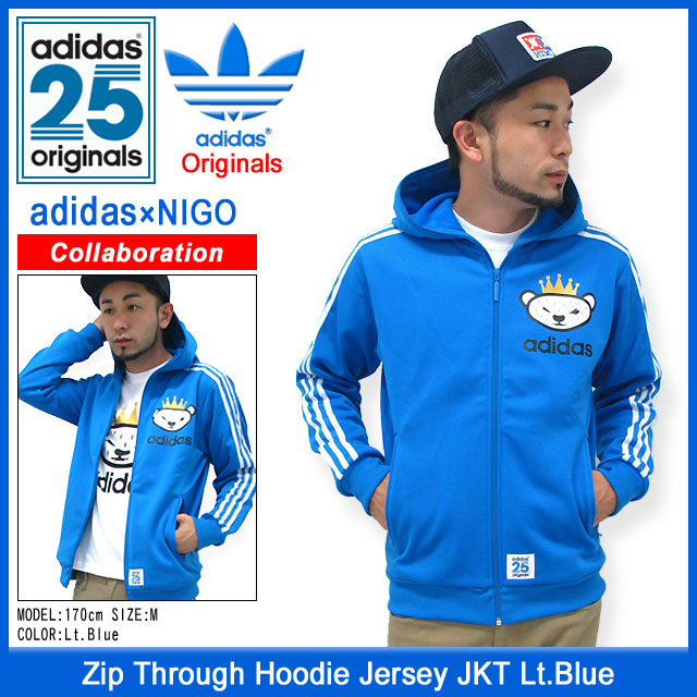 ... Adidas originals x NIGO adidas Originals by NIGO Jersey zip thru Hoodie  Jersey jacket light blue ... 178cd9790