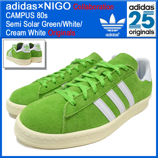 7c7c2935178f Adidas originals x NIGO adidas Originals by NIGO sneakers campus 80 s Semi  Solar Green White Cream White collaboration originals men s (men s) (CAMPUS  80 s ...