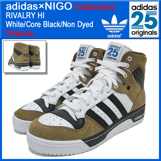 阿迪达斯原始物×NIGO adidas Originals by NIGO sunikaraibarurihai White/Core Black/Non Dyed协作原始物人(男性用)(RIVALRY HI 2前进W姓名Sneaker sneaker SNEAKER MENS、鞋鞋SHOES运动鞋M21516)