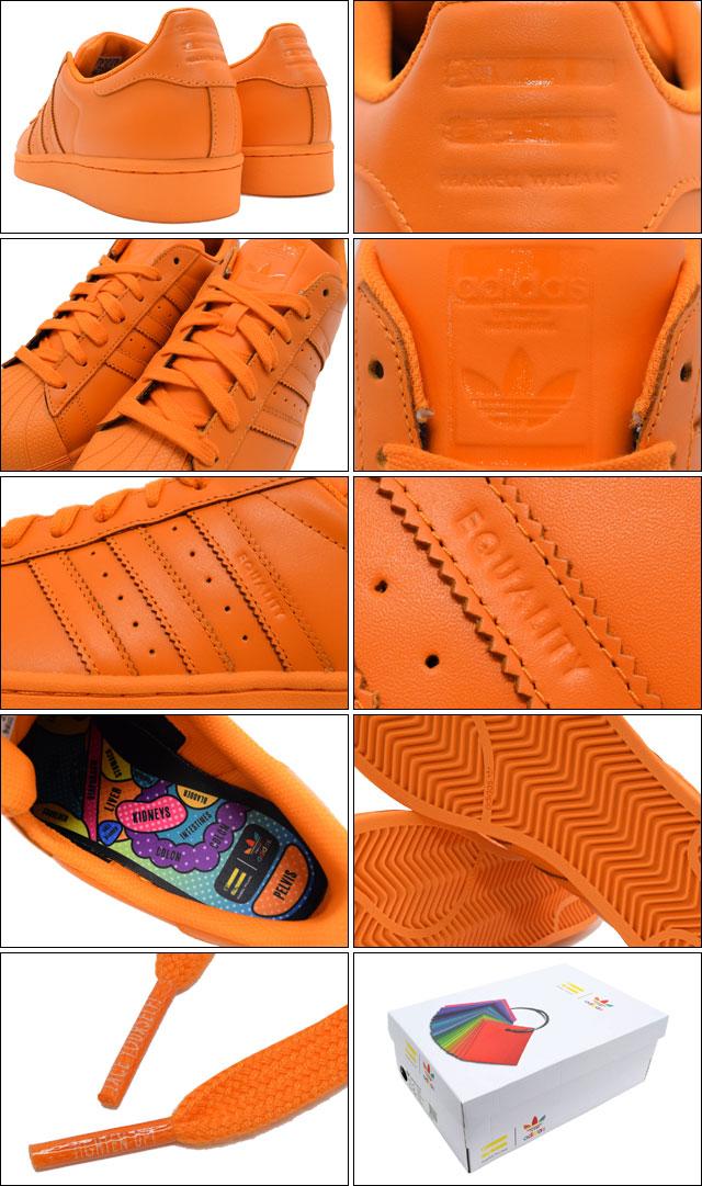 Adidas Sneakers Womens Mens Farrell Williams Superstar Super Color Bright Orange Collaboration Originals AdidasxPharrell SUPER STAR SC