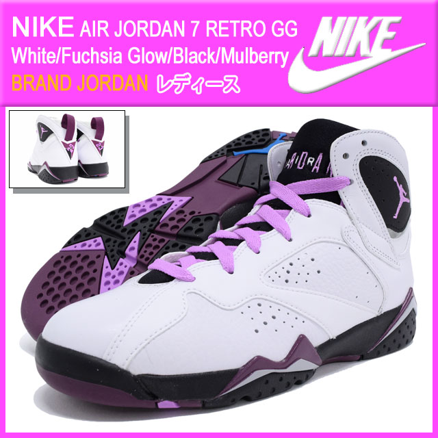official photos 7b77a 6c95a Nike NIKE sneakers Womens women s Air Jordan 7 retro GG White Fuchsia Glow Black Mulberry  (nike AIR JORDAN 7 RETRO GG BRAND JORDAN white white SNEAKER ...