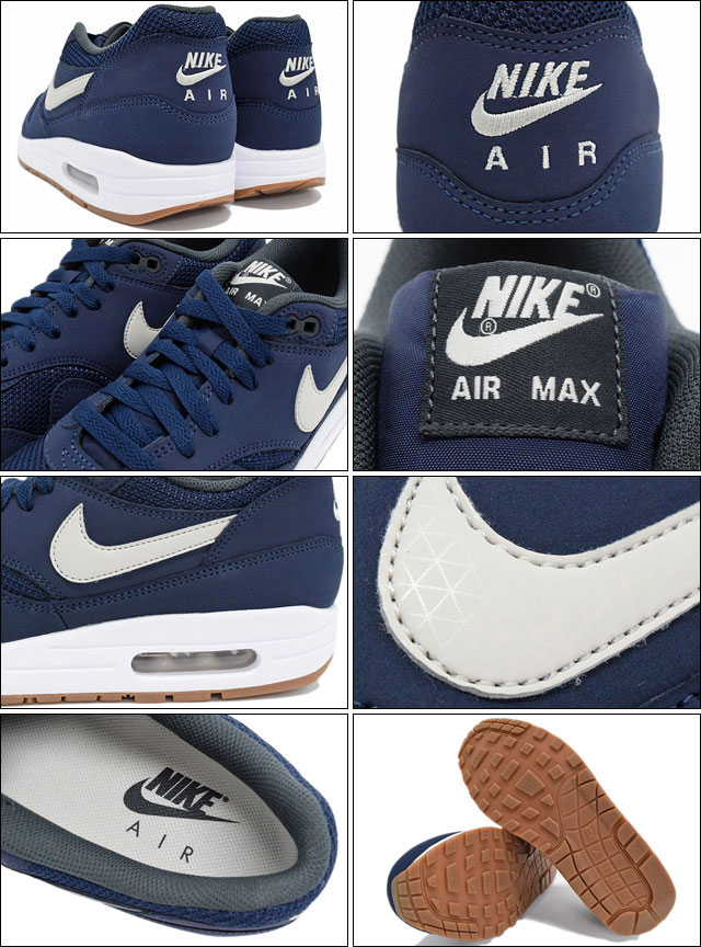 finest selection 9bcaf 7975b ... Nike NIKE sneakers mens men s Air Max 1 essential Midnight Navy Light  Bone White