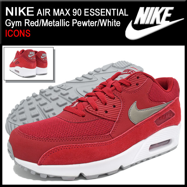 new concept afe42 31545 Nike NIKE sneakers mens men s Air Max 90 essential Gym Red Metallic  Pewter White limited (nike AIR MAX 90 ESSENTIAL ICONS Red Red SNEAKER MENS-shoes  shoes ...