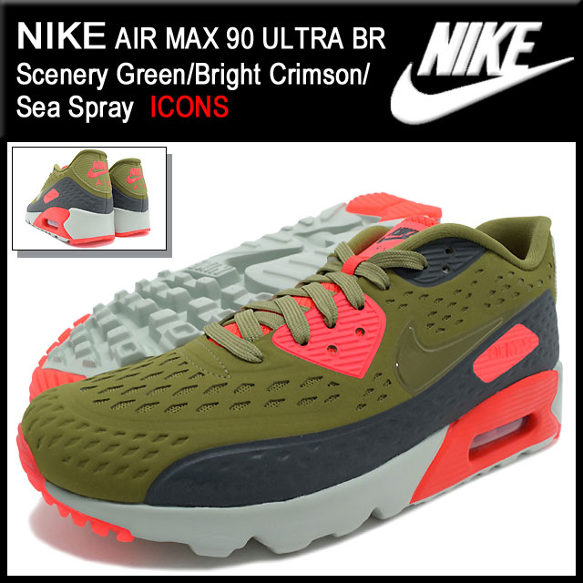 Nike NIKE sneakers mens men s Air Max 90 ultra BR Scenery Green Bright  Crimson Sea Spray limited edition nike AIR MAX 90 ULTRA BR ICONS olive  green SNEAKER ... 3c3ee1490