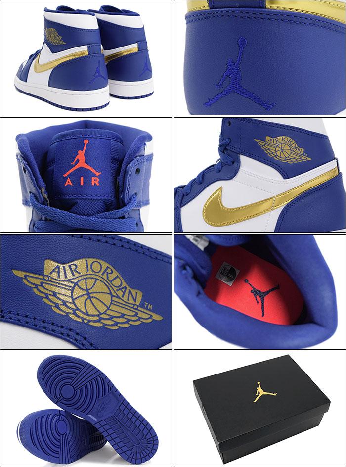 new arrival 9fda5 2bb6f ... Nike NIKE sneakers mens men s Air Jordan 1 retro Hi Deep Royal Blue Metallic  Gold