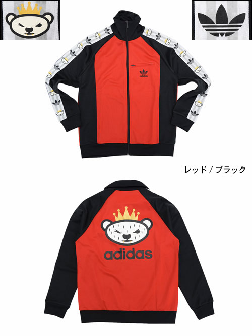 online store c55a8 61aee Adidas originals x NIGO adidas Originals by NIGO Jersey jacket mens retro  bear track top Jersey Red / Black collaboration with originals (adidas×NIGO  ...