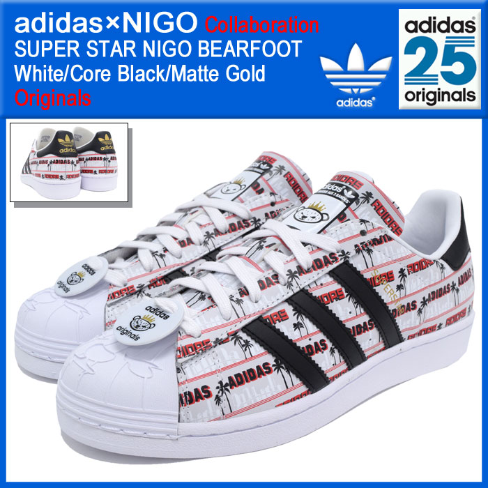 Adidas originals x NIGO adidas Originals by NIGO sneakers mens men's  superstar Niger baht White/Core Black/Matte Gold collaboration (adidas×NIGO  SUPER STAR ...