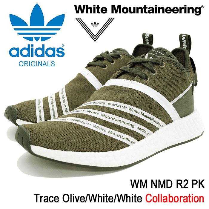 アディダス オリジナルス×White Mountaineering adidas Originals スニーカー メンズ 男性用 WM ノマド R2 PK Trace Olive/White/White コラボ(WM NMD R2 PK ホワイト マウンテニアリング オリーブ CG3649)