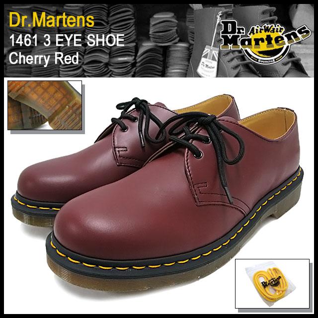 博士马滕斯 Dr.Martens 1461 3 眼鞋樱桃红色男装 (dr.martens 博士。马滕斯 1461年 3 眼鞋樱桃红 3 霍尔博士马丁靴靴博士、 马丁 · 马丁工作靴的鞋和靴子 R11838600)