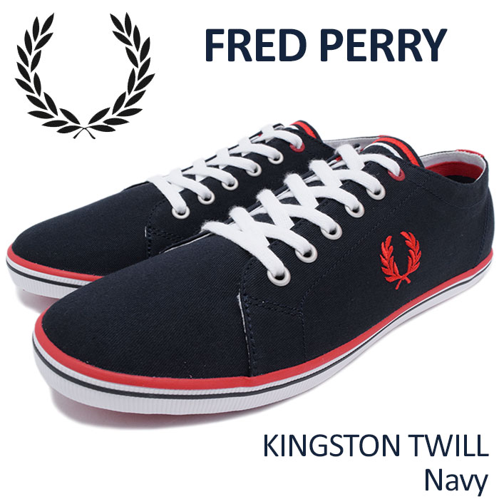 Kingston twill Navy(FREDPERRY SB6259U-608 KINGSTON TWILL navy dark blue  SNEAKER MENS 36ab73e7145