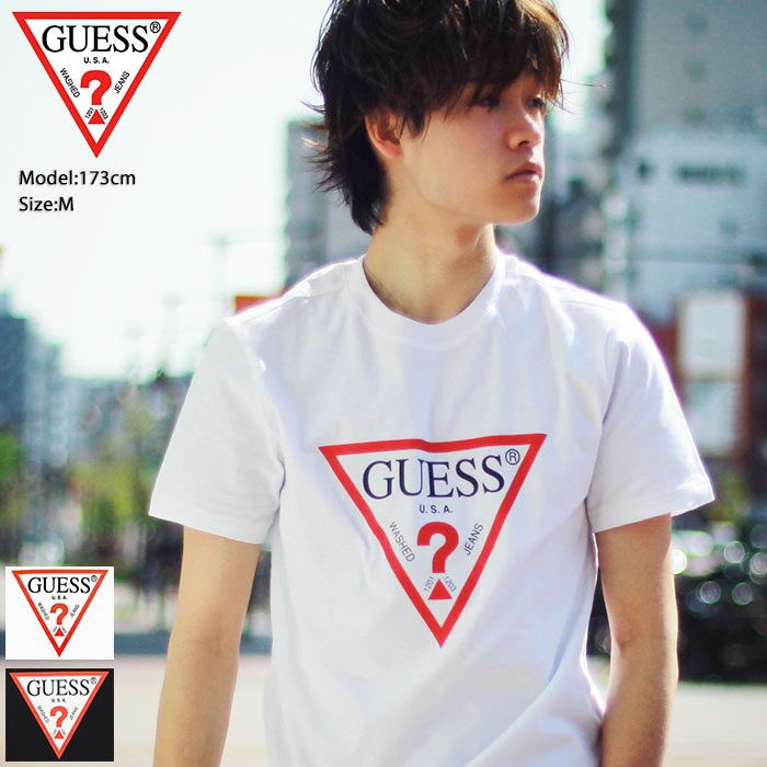 4a7cf720c ゲス GUESS T-shirt short sleeves men triangle logo (MJ2K9405K)[M service ...