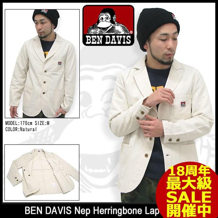 ベンデイビス BEN DAVIS ネップ ヘリンボーン ラペルド ジャケット 男性用 メンズ(ben davis GS-4380013 Nep Herringbone Lapeled JKT テーラードジャケット アウター ジャンパー・ブルゾン ベン デイビス)
