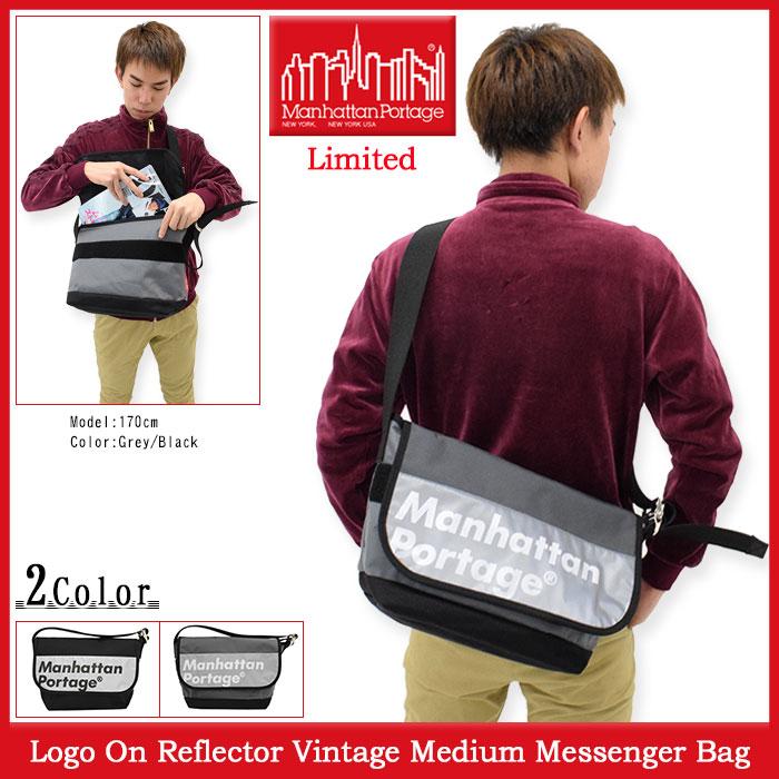 マンハッタンポーテージ Manhattan Portage メッセンジャーバッグ ロゴ オン リフレクター ビンテージ ミディアム 限定(Logo On Reflector Vintage Medium Messenger Bag Limited MP1606VJRREFL メンズ レディース ユニセックス 男女兼用)