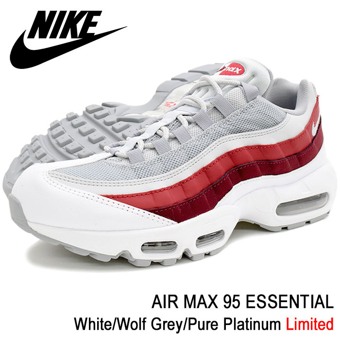Air Max 95 essential WhiteWolf GreyPure Platinum limited (nike AIR MAX 95 ESSENTIAL Limited white white SNEAKER MENS, shoes shoes SHOES 749,766 103)