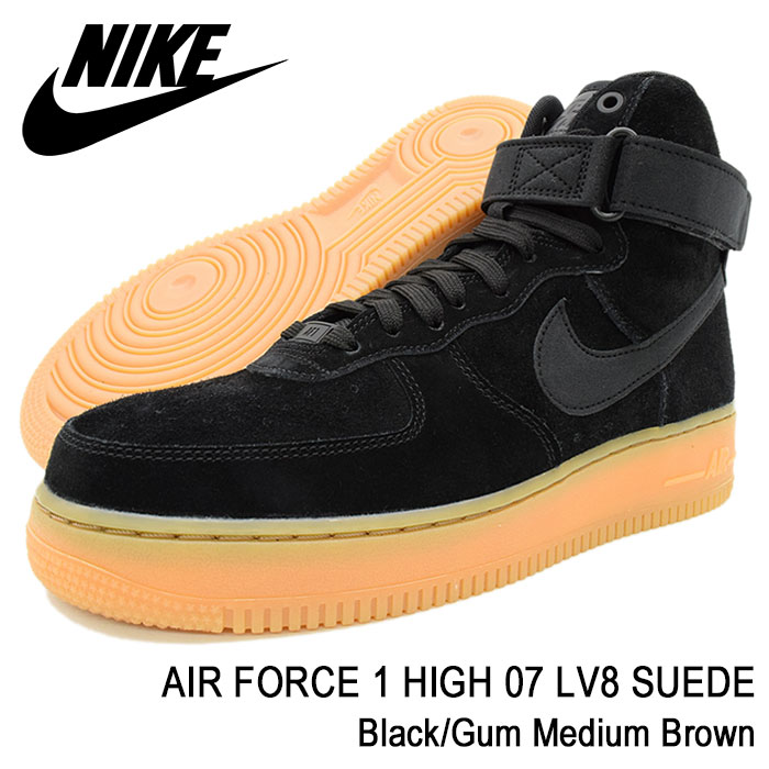 Air force 1 high 07 LV8 suede BlackGum Medium Brown(nike AIR FORCE 1 HIGH 07 LV8 SUEDE black black SNEAKER MENS, shoes shoes SHOES AA1118 001) ice