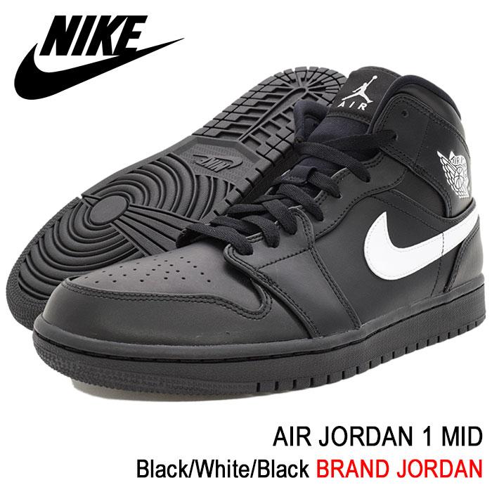 ナイキ NIKE スニーカー メンズ 男性用 エア ジョーダン 1 ミッド Black/White/Black(nike AIR JORDAN 1 MID BRAND JORDAN ブラック 黒 SNEAKER MENS・靴 シューズ SHOES 554724-049)