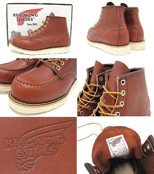 ... 9106 6 inches of red wing RED WING moccasins toe boots reddish brown  leather Irish setter