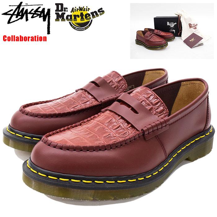 【アウトレット(不良箇所あり)】ステューシー STUSSY シューズ メンズ 男性用 ドクターマーチン ペントン ローファー Cherry Red コラボ(stussy×Dr.Martens Penton Loafer Made in England Shoes 靴 24359600 USAモデル 正規 品 ステューシー×ドクターマーチン)
