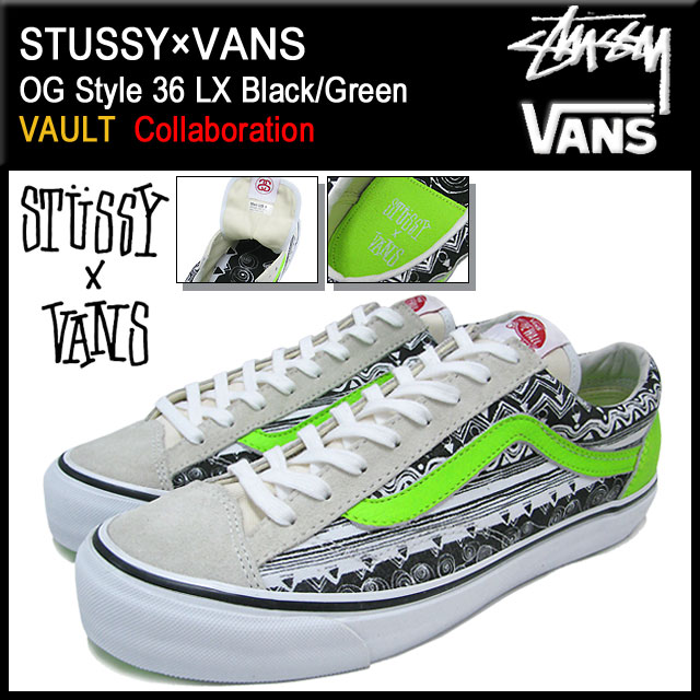 6f03c4f4627824 36 36 ステューシー STUSSY X VANS OG-style LX Black Green collaboration men (male  business) (stussy X vans OG Style LX VAULT vans station wagons bolt W name  ...