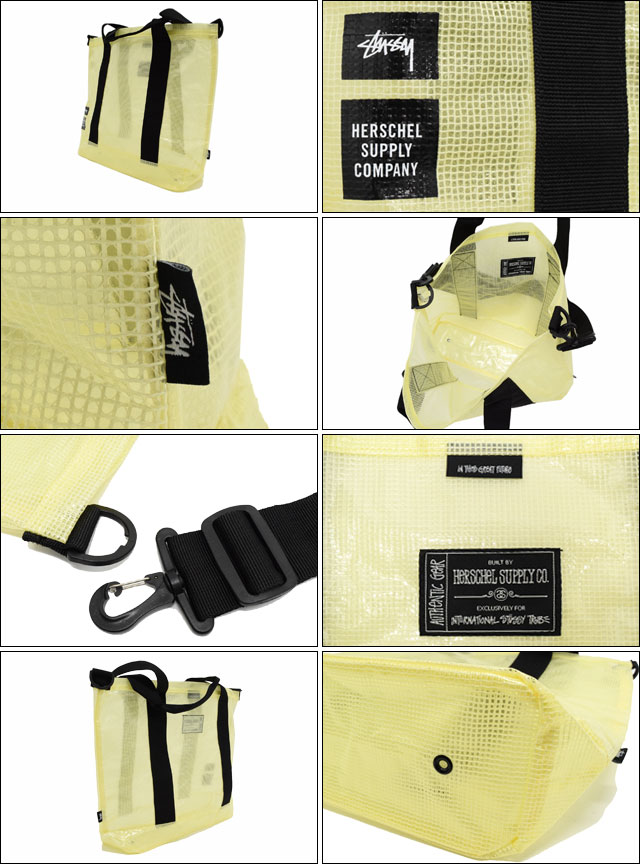 suteyushi STUSSY大手提包Herschel Clear Yellow Tarpaulin协作(STUSSY×Herschel tote bag大手提包挎包赫谢W姓名人分歧D男女两用男女兼用134129二海洋朱熹小东西)05P05Nov16