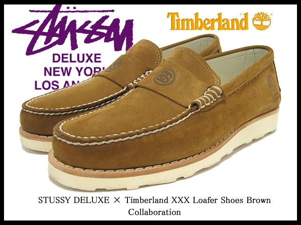 Stussy STUSSY×Timberland XXX loafers shoes Brown nubuck collaboration with men (men for men) (stussy×timberland Timberland W name 4038020 STUSSY×Timberland XXX Loafer Shoes Brown Deluxe) ice filed icefield