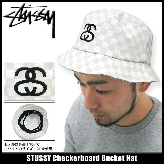 132505 hat bousi Stussy stussy Stu sheath Zhu Xi) ice filed icefield for  ステューシー STUSSY Checkerboard Bucket hat (stussy hat Stussy HAT hat men 76c8a11bd10