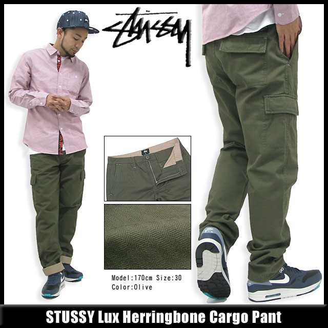 Stussy STUSSY Lux Herringbone Cargo pants (stussy pant cargo pants mens, men's 116208 Stussy stussy Stussy Steacy) ice filed icefield