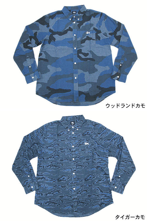 Stussy STUSSY 迷彩纺衬衫长袖 (stussy t 恤男式衬衫的男人 011853 Steacy) 冰提起冰原