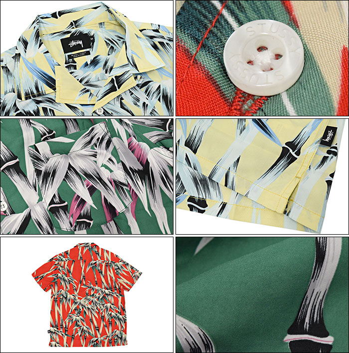 供suteyushi STUSSY衬衫短袖人Bamboo Print(stussy shirt休闲衬衫顶端人、男性使用的111874二海洋朱熹)ice filed icefield