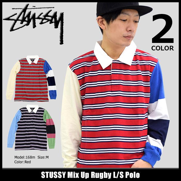 ステューシー STUSSY ポロシャツ 長袖 メンズ Mix Up Rugby(stussy polo ラガーシャツ ラグビーシャツ トップス 男性用 1140048 ポロ・シャツ USAモデル 正規 品 ストゥーシー スチューシー)