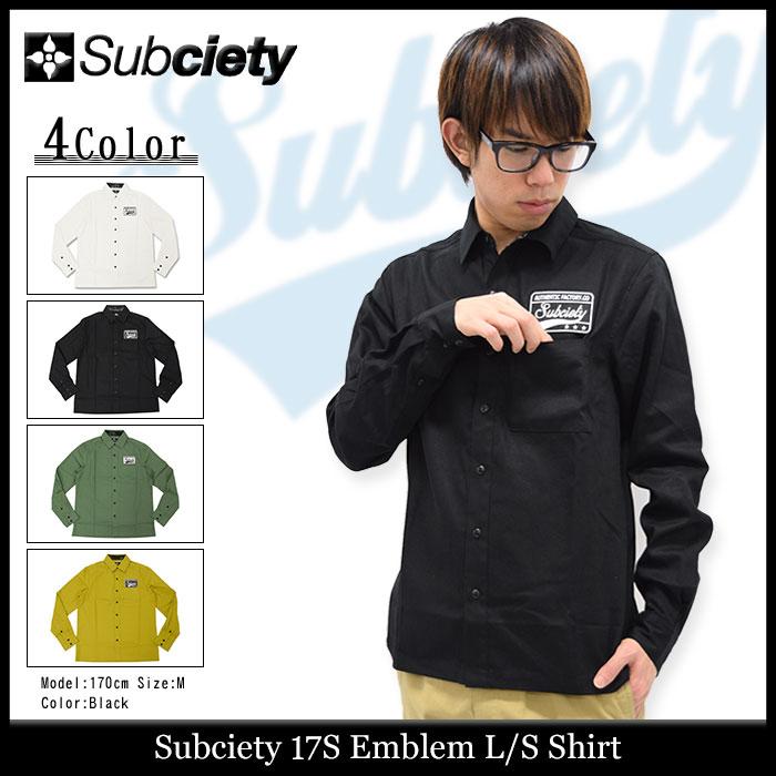 サブサエティ Subciety シャツ 長袖 メンズ 17S エンブレム(subciety サブサエティー 17S Emblem L/S Shirt カジュアルシャツ トップス)