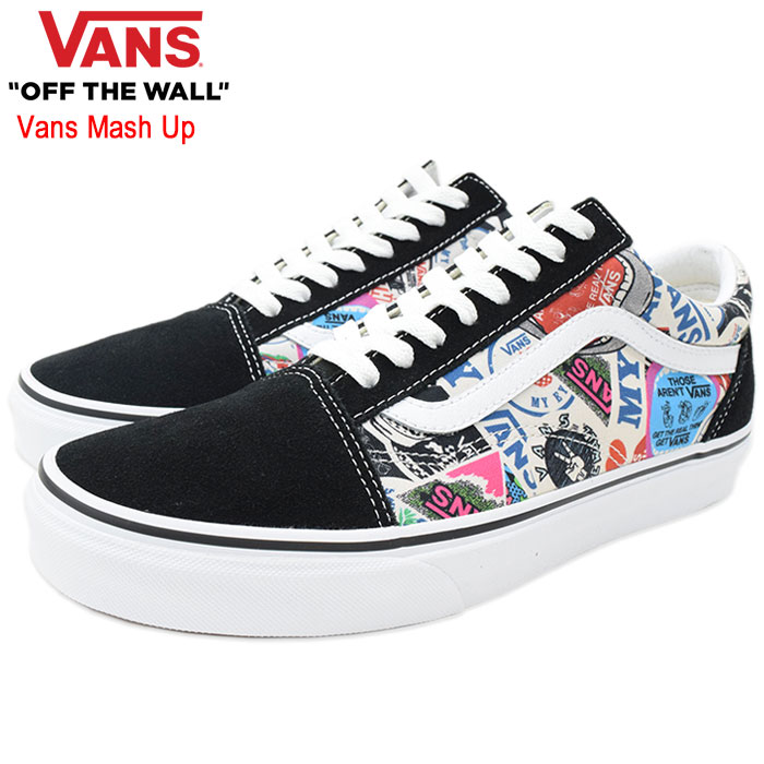 Old school StickersTrue White vans mash up (vans VN0A38G1VFV Old Skool Vans Mash Up low frequency cut black black SNEAKER MENS, shoes shoes SHOES