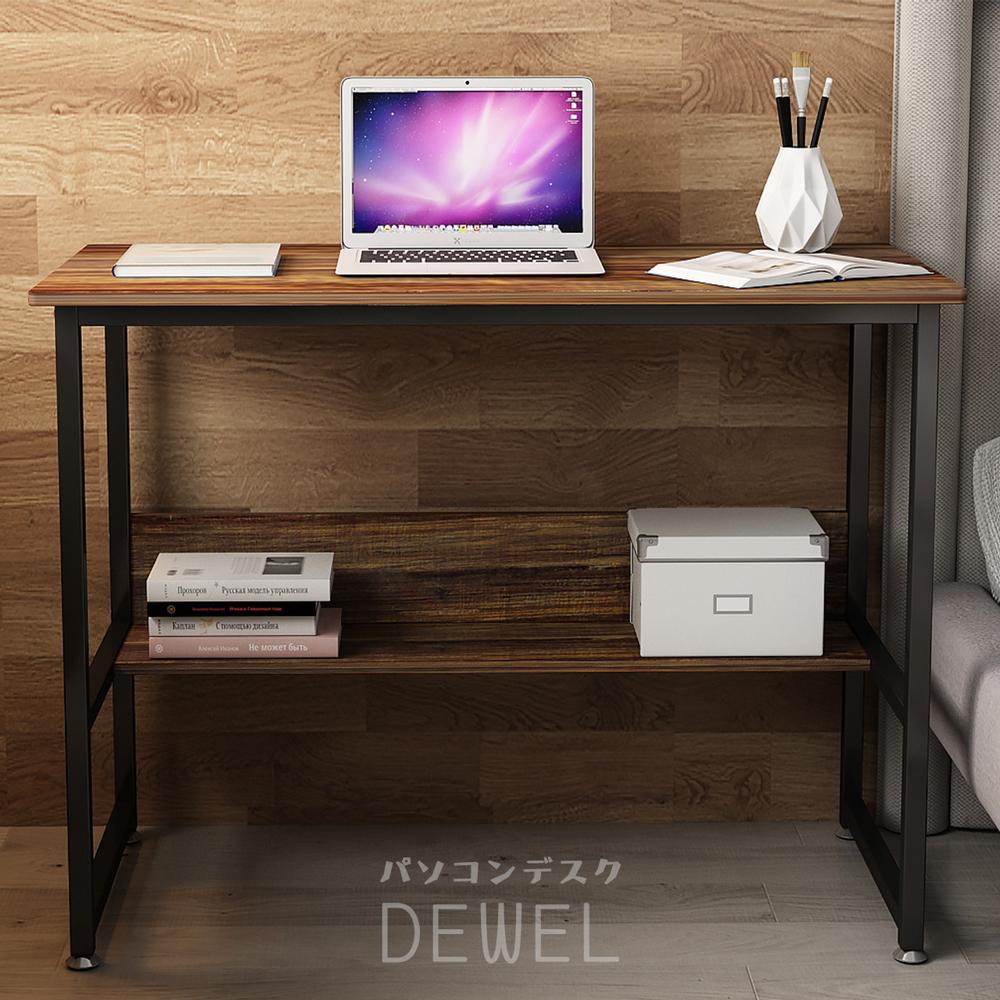 机 pc机 パソコン机 DEWEL テーブル pcデスク 勉強机 パソコンデスク 収納つきデスク ラック 幅100cm 奥行50cm 高さ75cm
