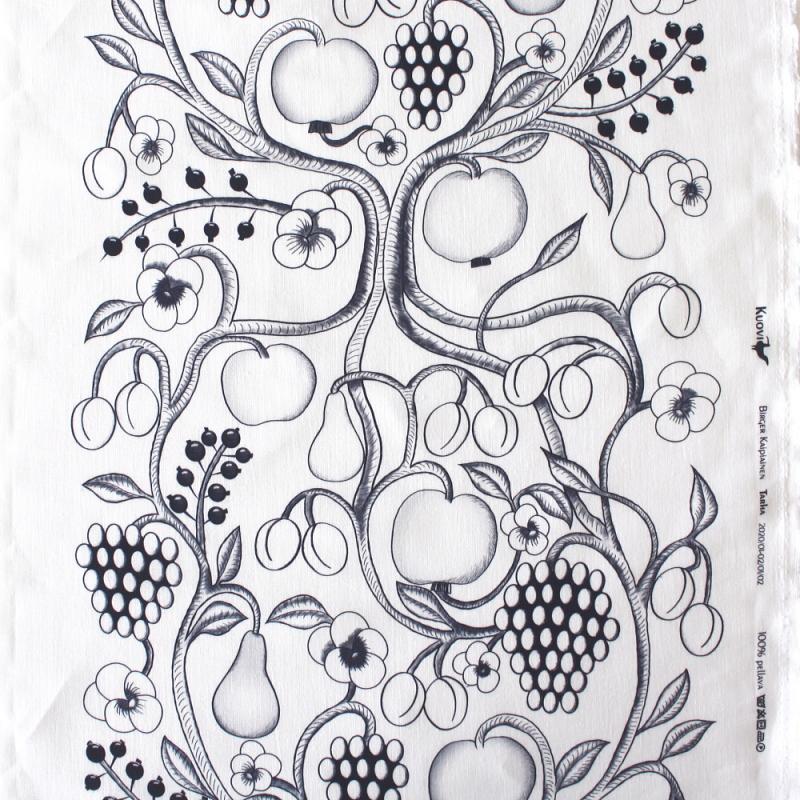 3mまでメール便発送可能 結婚祝い 10cm単位販売 北欧 布 KUOVI 早割クーポン クオヴィ ファブリック オーチャード 生地 巾48cm ナロー リネン Orchard ブラック