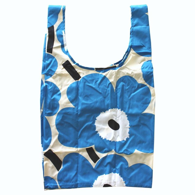 こちらの商品は メール便の発送可能です marimekko マリメッコ スマートバッグ 『4年保証』 エコバッグ UNIKKO 34 ベージュ地 ウニッコ 1年保証 No.159 ブルー
