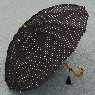 【送料無料】雨に咲く傘甲州織(水玉) 16本骨長傘 手元寒竹【傘屋伝七/080003kb】