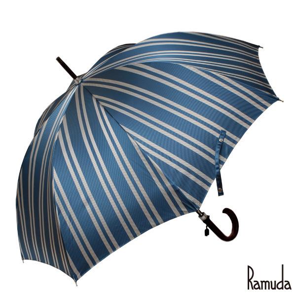 レジメンタルストライプ ブルー RAMUDA 65樫棒濃茶塗り メンズ大きいサイズ甲州織【送料無料】【傘屋伝七/211302bu】名入れ 可父の日 ギフト