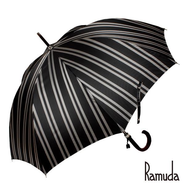 レジメンタルストライプ ブラック RAMUDA 65樫棒濃茶塗りメンズ大きいサイズ甲州織【送料無料】【傘屋伝七/211303b】名入れ 可父の日 ギフト