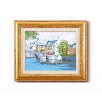 黒沢 久油絵額F6金 「運河の風景」 1110340【同梱・代引き不可】