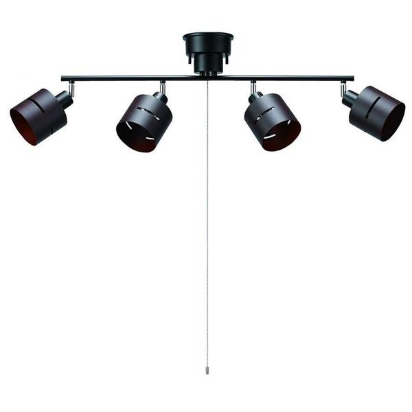 YAZAWA(ヤザワコーポレーション) 4灯ウッドセードシーリング ダークウッド E26 電球なし CEX60X01DW【同梱・代引き不可】