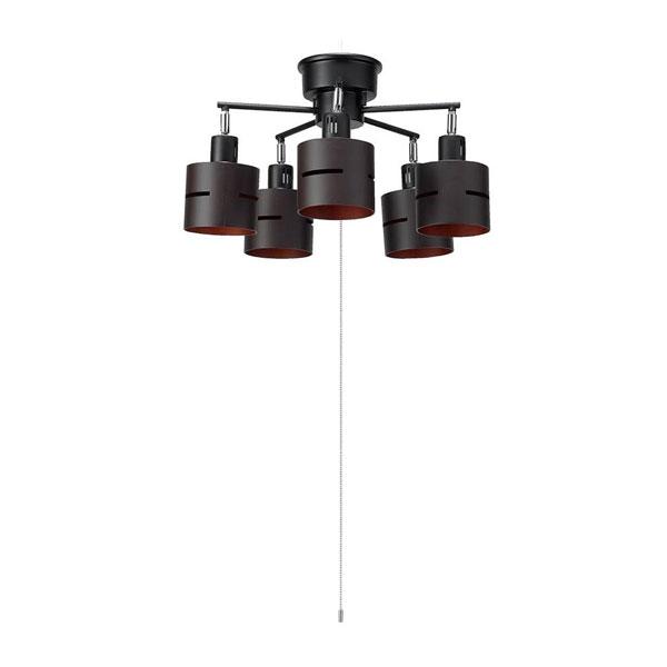 YAZAWA(ヤザワコーポレーション) 5灯ウッドセードシーリング ダークウッド E26 電球なし CEX60X02DW【同梱・代引き不可】