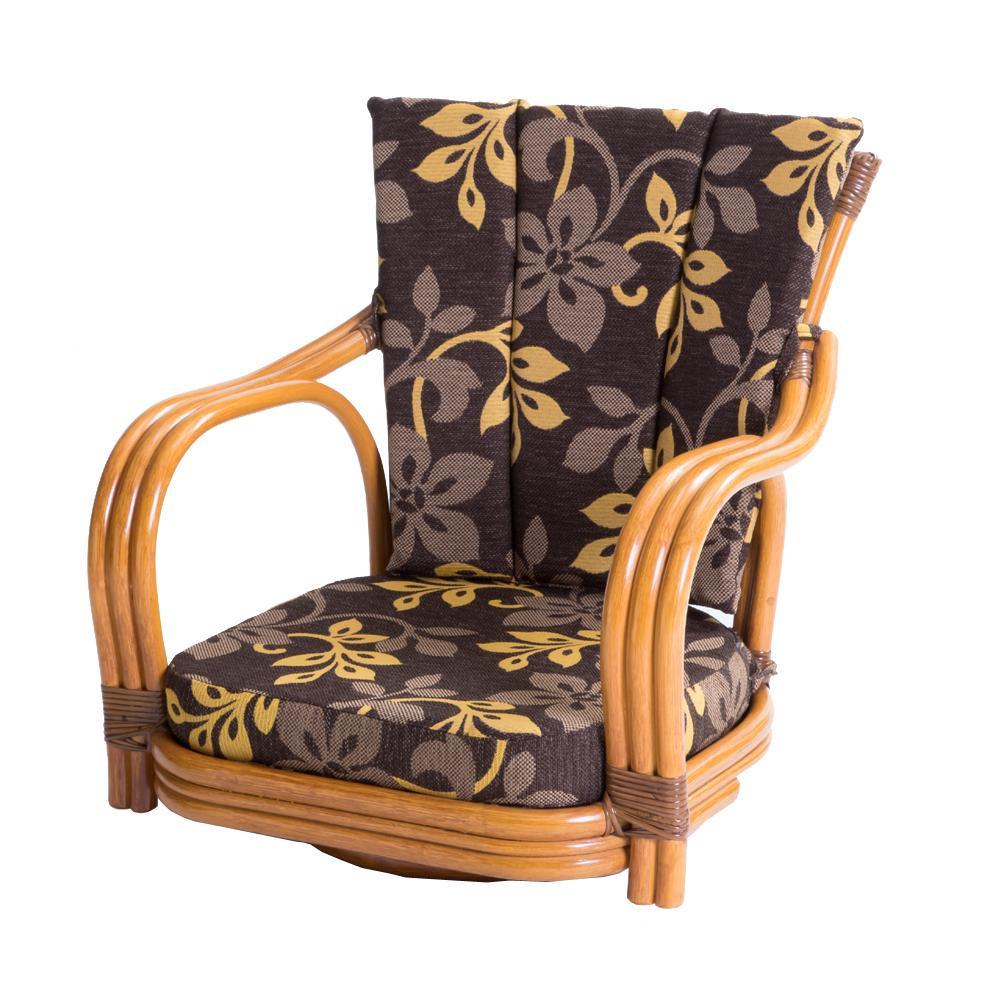 ラタン 回転椅子 ロータイプ 座面高さ15cm GNM17L【同梱・代引き不可】