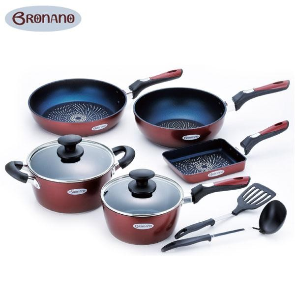 BRONANO(ブラナーノ) IH対応 鍋&フライパン 5点セット (お玉・ターナー付) BM-9532【同梱・代引き不可】