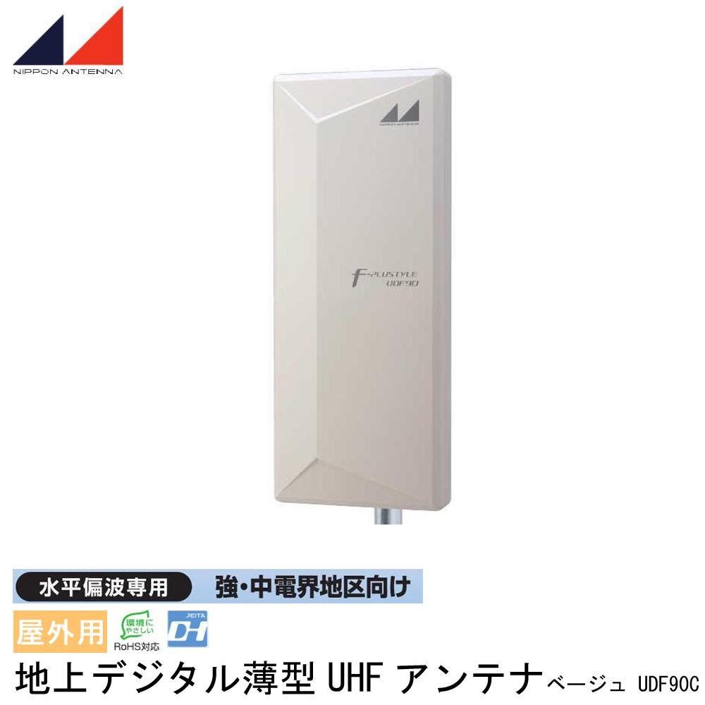 日本アンテナ 屋外用 地上デジタル薄型UHFアンテナ 水平偏波専用 強・中電界地区向け ベージュ UDF90C【同梱・代引き不可】