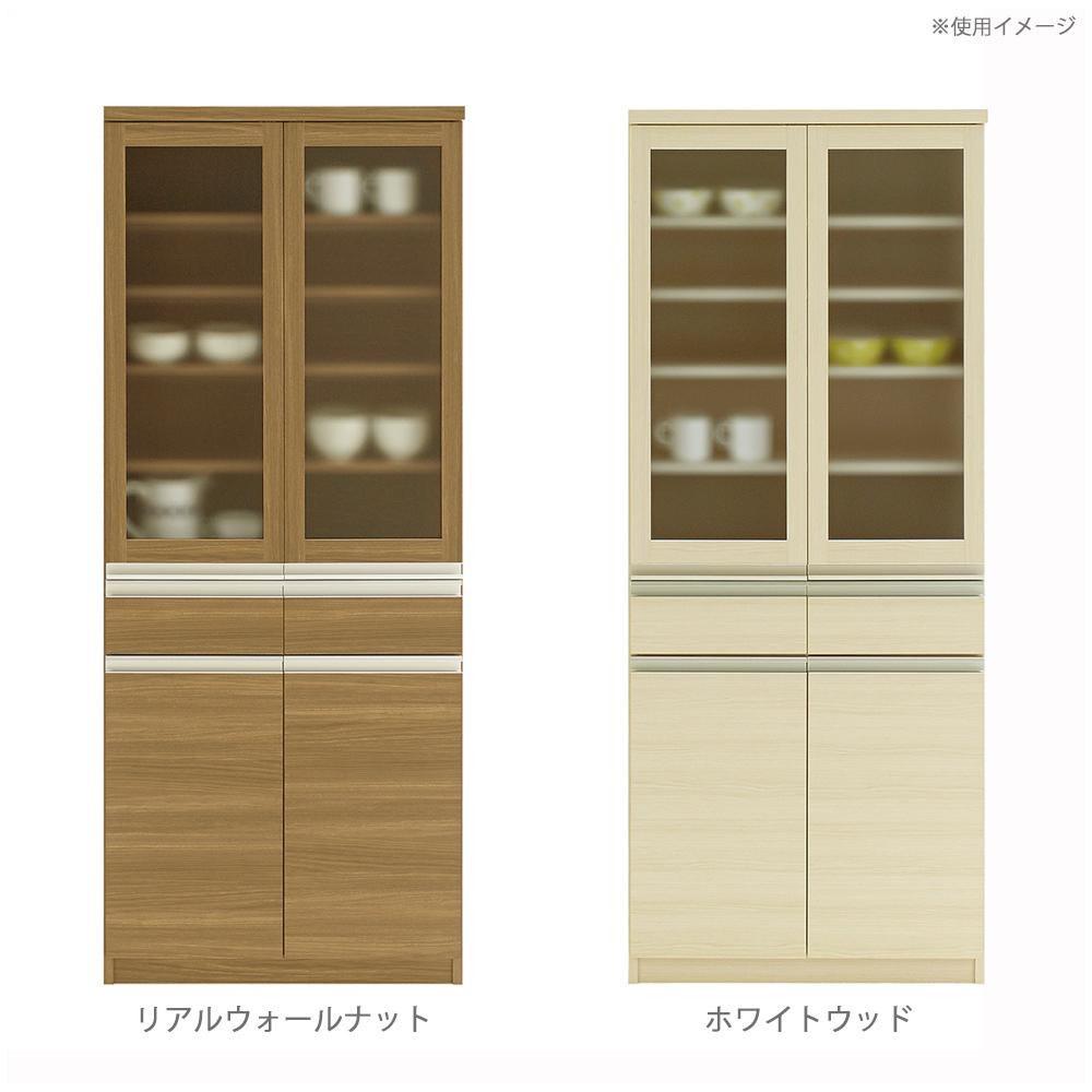 フナモコ 日本製 KITCHEN BOARD JUST! 食器棚 ガラス戸 732×448×1800mm【同梱・代引き不可】