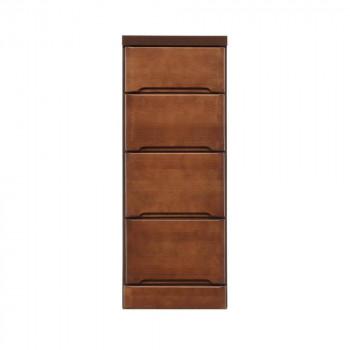 クライン サイズが豊富なすきま収納チェスト ブラウン色 4段 幅32.5cm【同梱・代引き不可】